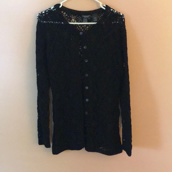 Doncaster Sweaters - Doncaster open weave black sweater.